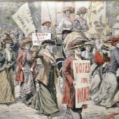 old poster for womens suffrage