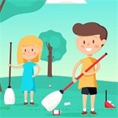 two kids cleaning a park