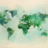 map of the world in shades of green