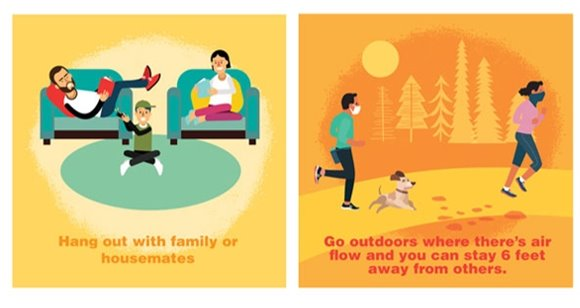 two panels depicting a family together indoors and outdoors