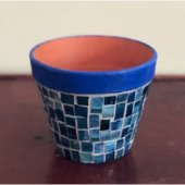 blue mosaic tile planter