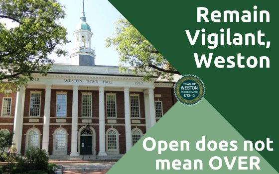 weston town hall with text reading stay vigilant