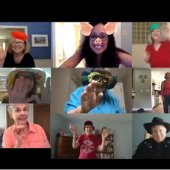 six people on Zoom waving to camera