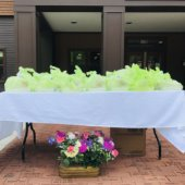 table with green bags on top with flowers on the brick ground