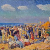 painting of people at the beach by william glackens