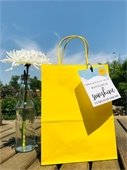 yellow gift bag and white flower in vase on wooden table against blue sky