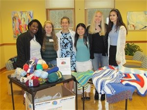 Weston High Students with the yarn they collected for Project Linus