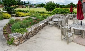 Stop by to enjoy the patio in the Paine Garden