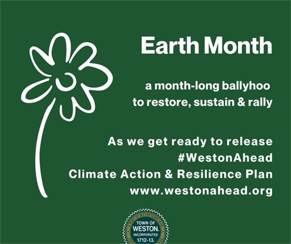 green earth month card with flower