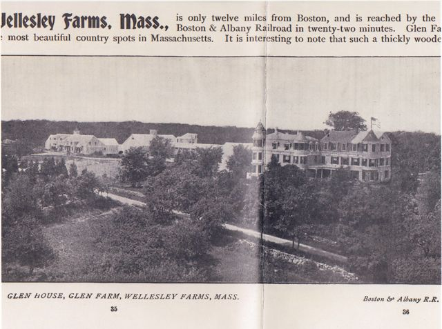 Aerial view of Glen Farm and Glen House at the turn of the century