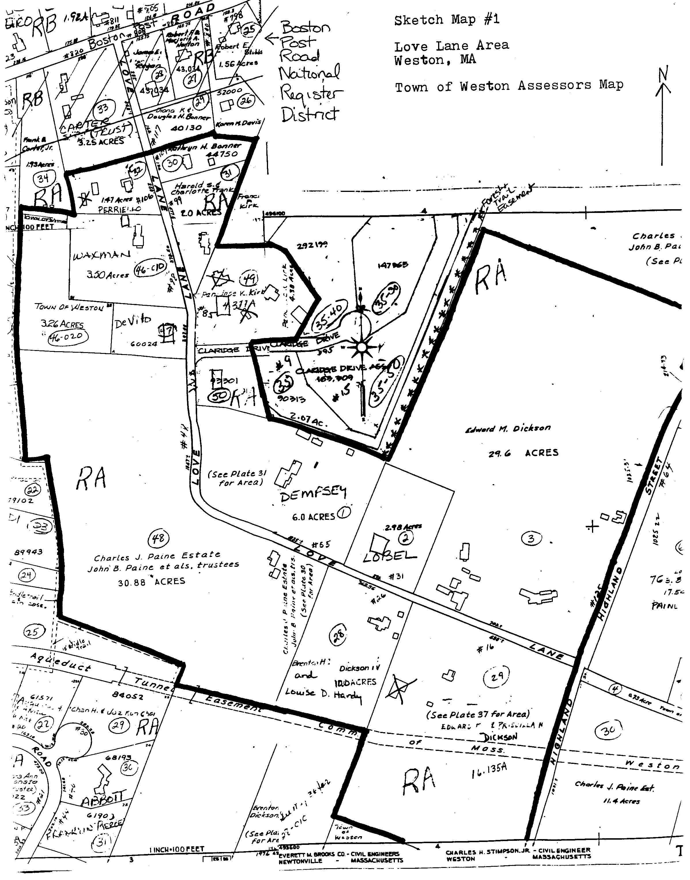 Love Lane Area map