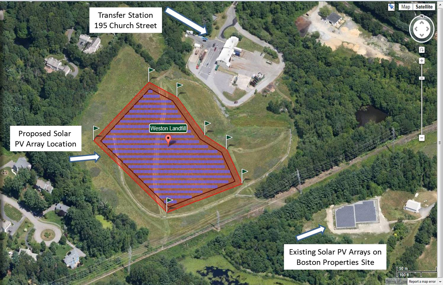 Array map, showing the Transfer Station, existing solar PV arrays, and the proposed location