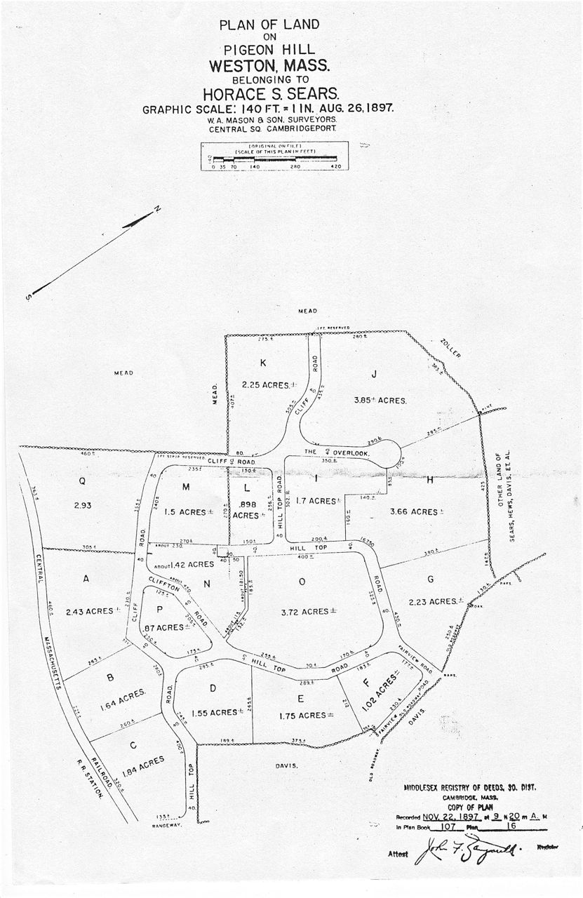Pigeon Hill plan of land map