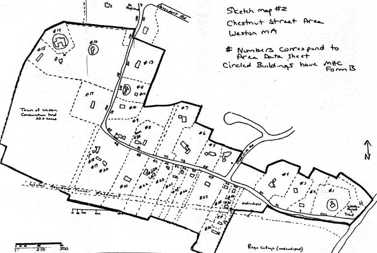 A sketch map of the Chestnut Street Area