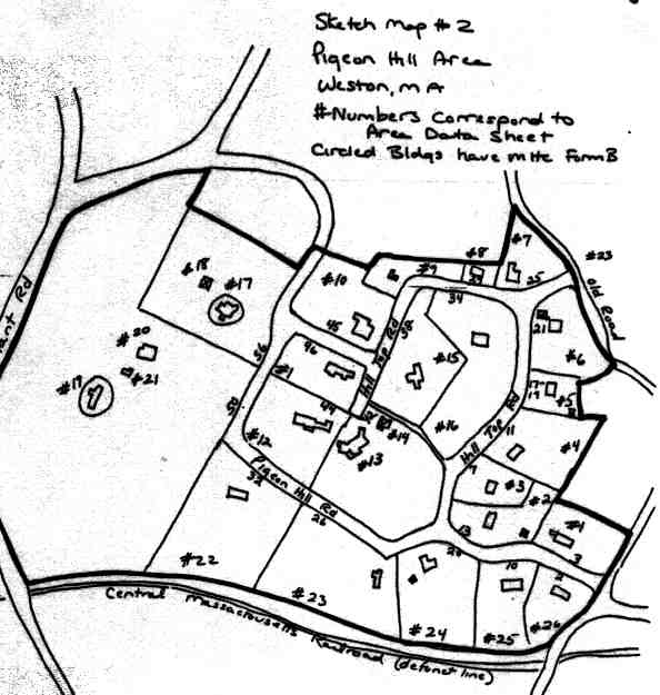 A sketch map of the Pigeon Hill Area