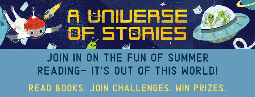 universe of stories image with spaceship and aliens