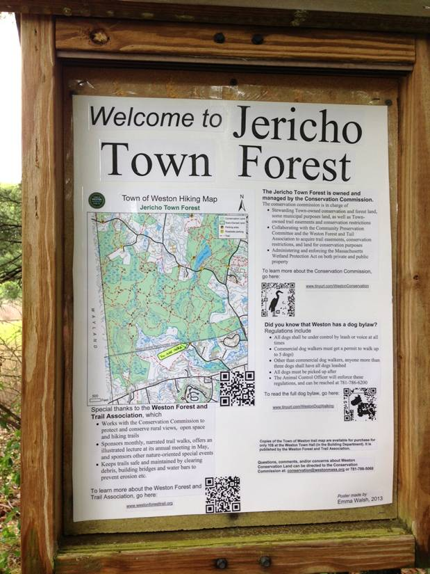 Town of Weston Jerico Forest Outdoor Information Bulletin Board