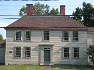 The Golden Ball Tavern (1768) is the district's most distinctive example of the Colonial style.