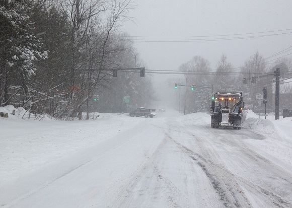 blizzard conditions on roadway