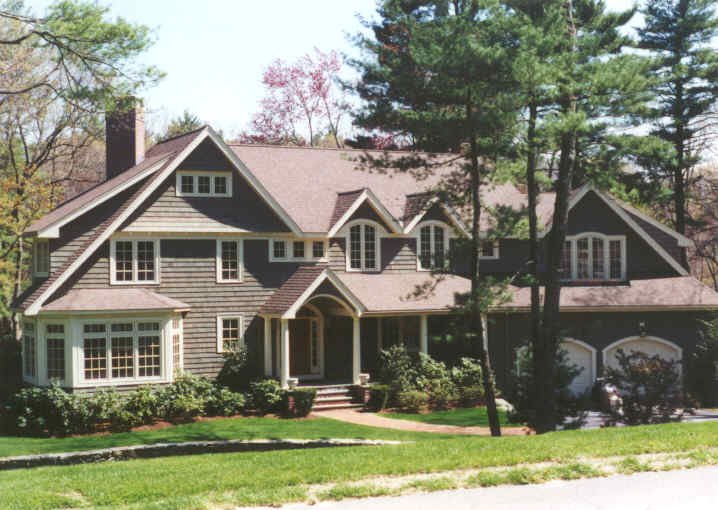 A large shingle style home